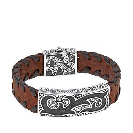 Bali Designs Men's Pebbled Flame Leather Bracelet