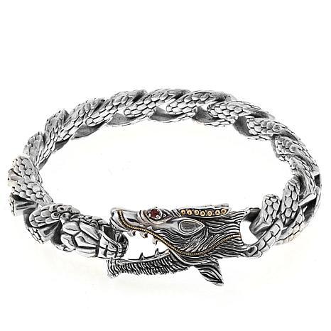 """Bali Designs Men's Ruby Dragon 9"""" Bracelet"""