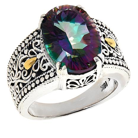 Bali Designs Rainbow Quartz Scrollwork Ring
