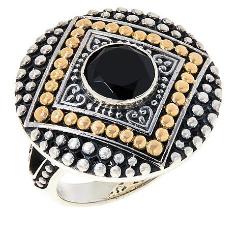 Bali Designs Sterling Silver and 18K Gemstone Popcorn Pattern Ring