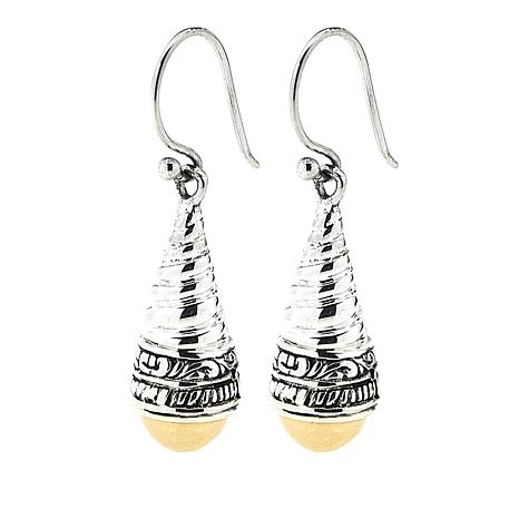 Bali Designs Sterling Silver And 18k Gold Dome Cable Earrings
