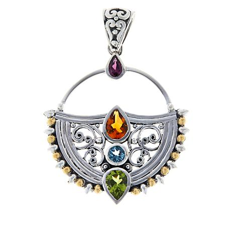 Bali Designs Sterling Silver and 18K Multi-Gemstone Scroll Pendant
