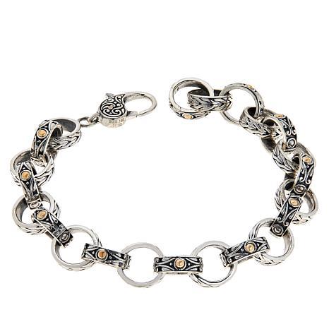 Bali Designs Sterling Silver and 18K Textured Oval Link Bracelet