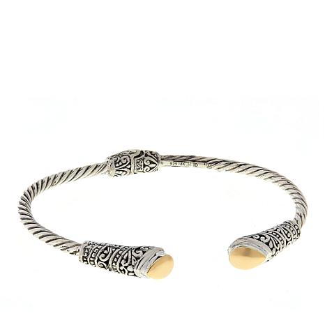 Bali Designs Two-Tone Hinged Cable Cuff Bracelet