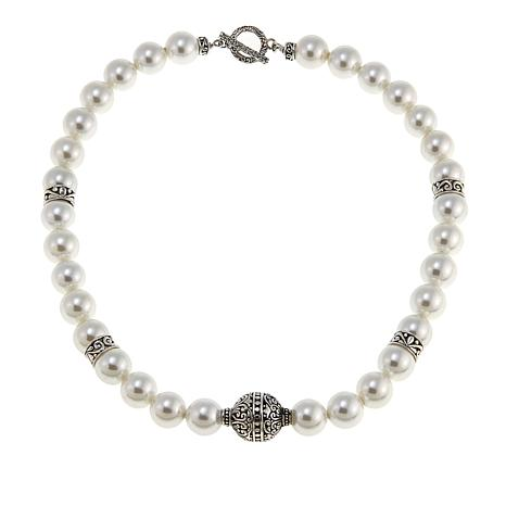 Bali Designs White Coated Shell Bead Toggle Necklace