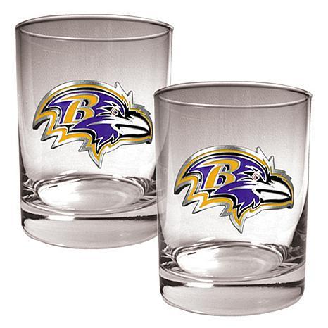 Baltimore Ravens 2pc Rocks Glass Set