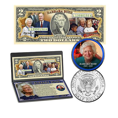 Barbara Bush Commemorative Colorized $2 Bill and JFK Half Dollar