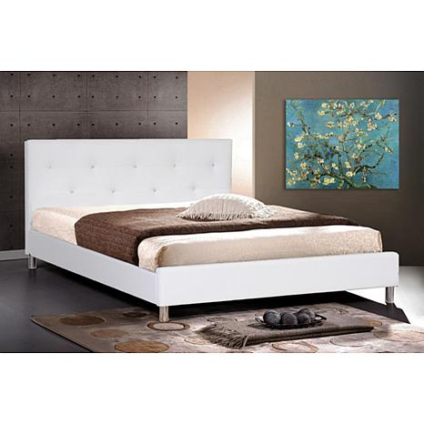 Barbara White Modern Bed with Crystal Button - Queen