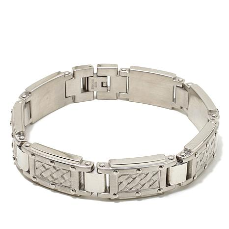 "Basketweave-Textured Men's Stainless Steel 8-1/2"" Brace"