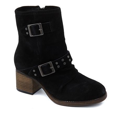 BEARPAW® Amethyst Suede Block-Heel Ankle Bootie  with NeverWet™