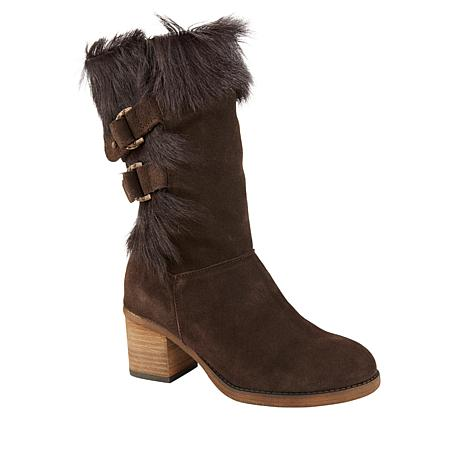 BEARPAW® Madeline Suede Block-Heel Boot with NeverWet™