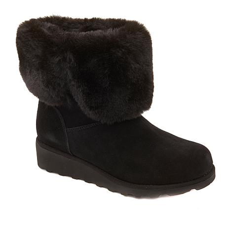 BEARPAW® Marlene Suede Faux Fur Cuffed Boot with NeverWet®