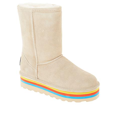 BEARPAW® Retro Elle Suede Sheepskin Platform Boot with NeverWet™