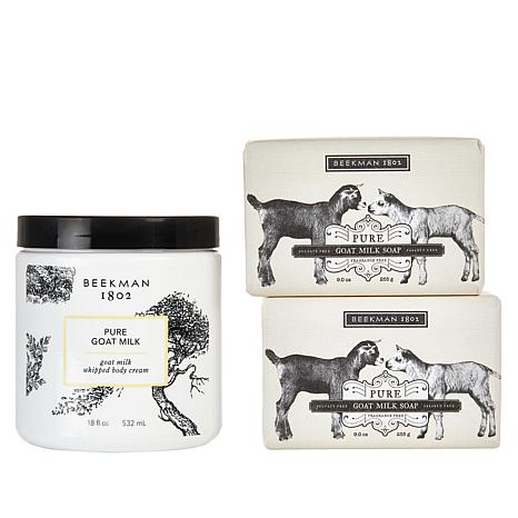Beekman 1802 Pure Goat Milk Body Cream and Bar Soap 3-piece Set AS