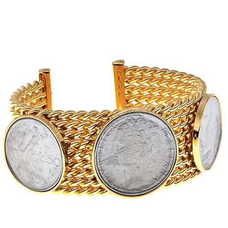 Bellezza 100 and 50 Lira Coin Bronze Rope Cuff Bracelet