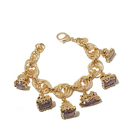 Bellezza 49ctw Amethyst Bronze Dangle Link Bracelet