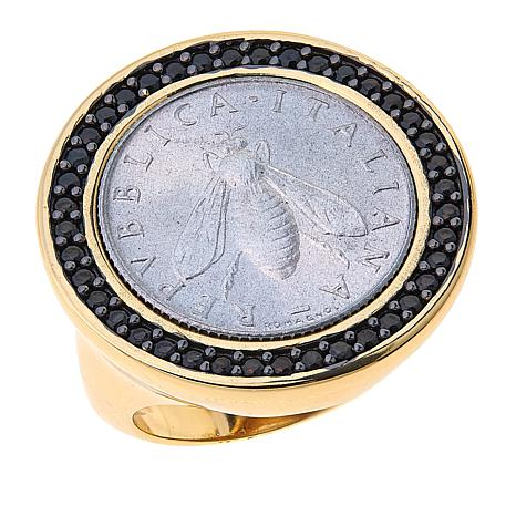 Bellezza Bee Lira Coin Black Spinel Bronze Ring