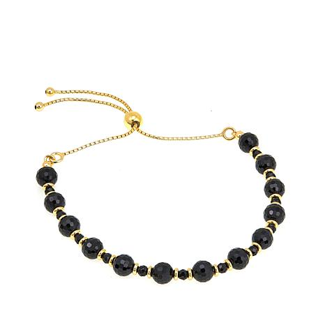 Bellezza Black Spinel Bronze Beaded Adjustable Bracelet