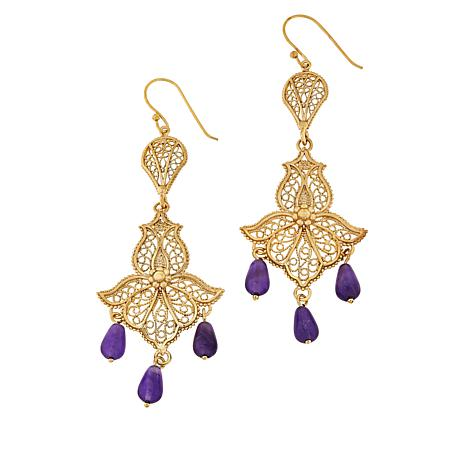 Bellezza Bronze Amethyst Bead Floral Filigree Earrings