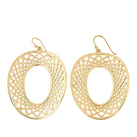 Bellezza Bronze Oval Crosshatch Earrings