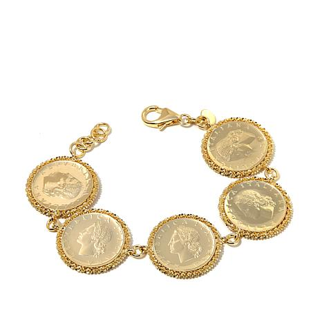 Bellezza Lira Coin Sparkle Border Station Bracelet