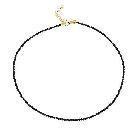 "Bellezza ""Magia Nera"" Black Spinel Beaded Bronze 18"" Necklace"
