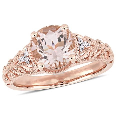 Bellini 14K Rose Gold Pink Morganite and Diamond Vintage Style Ring