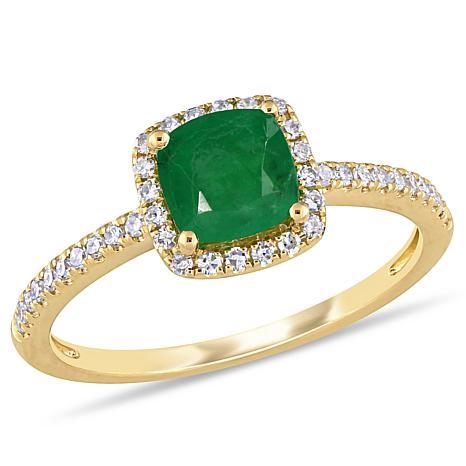 Bellini 14K Yellow Gold 1.06ctw Diamond and Emerald Halo Ring