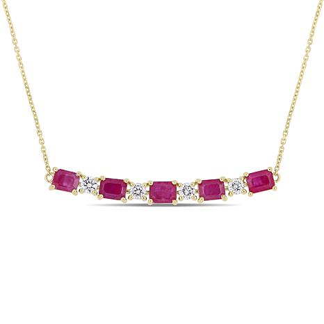 Bellini 14K Yellow Gold Ruby and Diamond Cable Chain Necklace