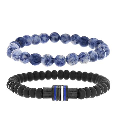 Ben Sherman Men's Blue and Black Beaded Bracelet Set