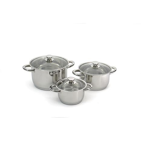 BergHOFF Essentials Prima 6pc Stainless Steel Cookware Silver Handles