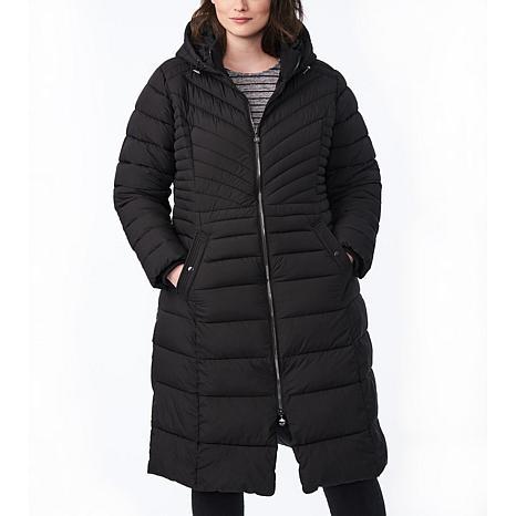 Bernardo Plus-Size EcoPlume Maxi Coat with Snap Vent