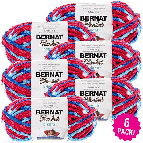 Bernat Blanket Brights Yarn 6-pack - Red, White and Boom
