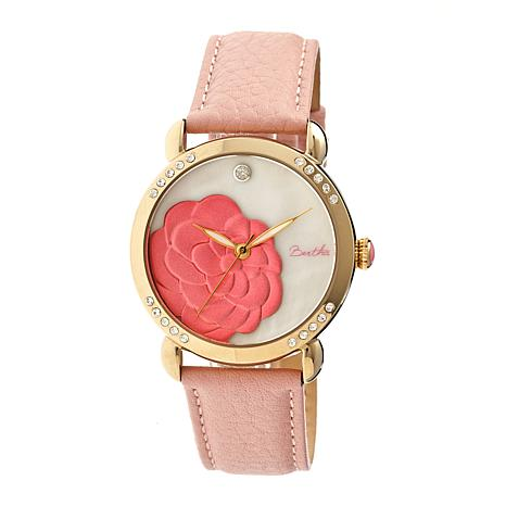 Bertha Daphne Mother-of-Pearl Dial Leather Strap Watch