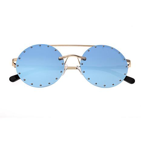 Bertha Harlow Polarized Sunglasses with Gold Frame and Blue Lenses