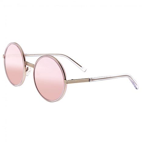 Bertha Riley Polarized Sunglasses with Silver Frame & Pink Lenses