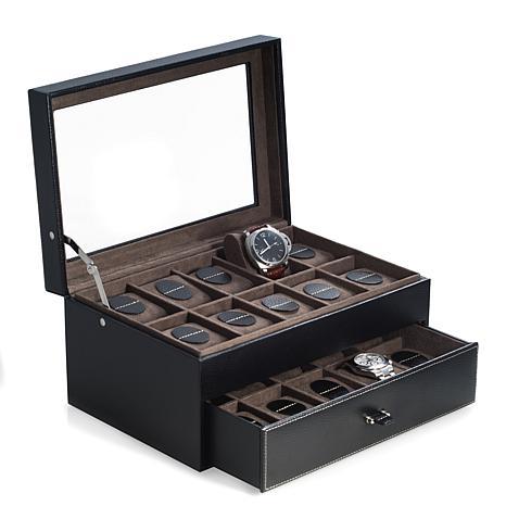 Bey-Berk Black Pebbled Leather 20 Watch Case
