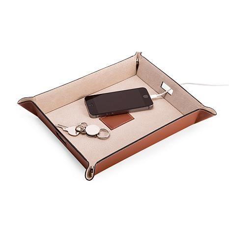 Bey-Berk Saddle Brown Leather Valet and Charging Station