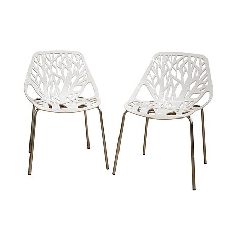Birch Sapling White Plastic Accent or Dining Chairs