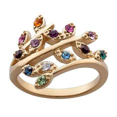 Birthstone Crystal Leaf Bypass Ring