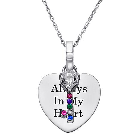 Birthstone Crystal Sterling Silver Engravable Heart and Key Pendant