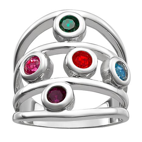 Birthstone Crystal Sterling Silver Multi-Row Family Ring