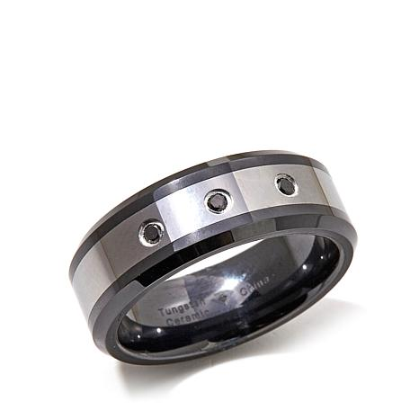 Black Ceramic & Tungsten Black Diamond 8mm Wedding Band