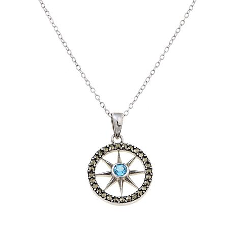 Black Marcasite and Blue Topaz Compass Pendant w/Chain