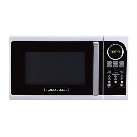 Black+Decker 0.9-Cubic Foot Pull Handle Microwave in White