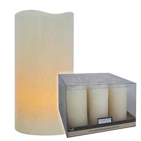 """Brite Star Set of 6 4"""" Ivory Curved Edge Flameless Candles"""