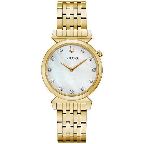 Bulova Goldtone Women's Diamond Marker Bracelet Watch