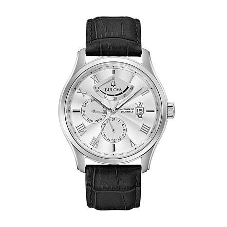 Bulova Men's Silver-Tone Dial Automatic Leather Strap Watch