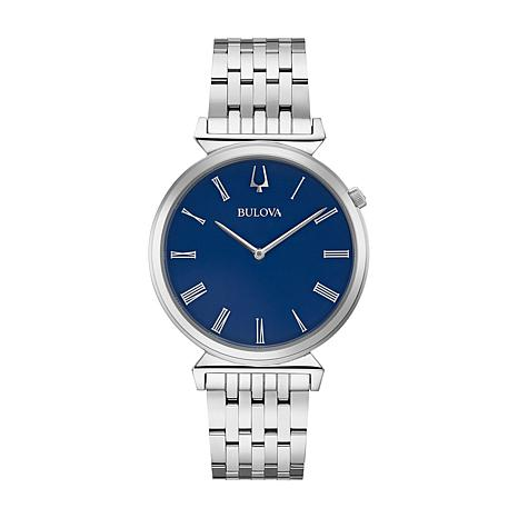 Bulova Men's Slim Stainless Steel Watch with Blue Dial
