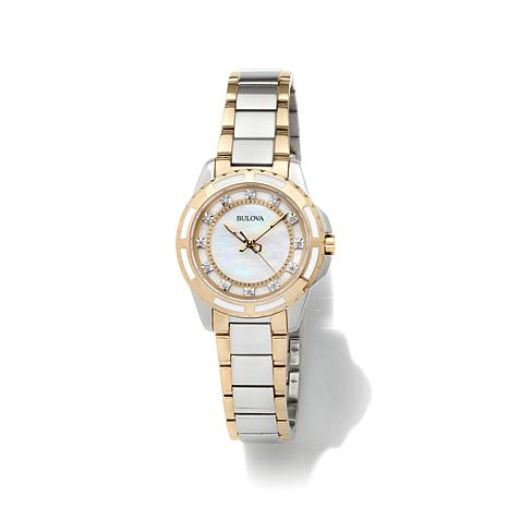 Bulova Mother-of-Pearl 0.44ctw Diamond 2-Tone Watch